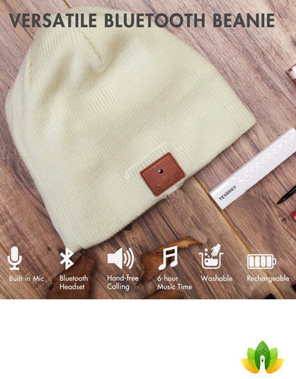 Tenergy Wireless Bluetooth Beanie Hat with Detachable Stereo Speakers &  Microphone